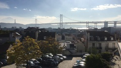 25th of April Bridge In Lisbon With A View The City, Portugal Stock Footage