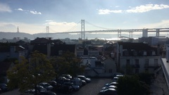 Famous 25th of April Bridge In Lisbon, Portugal Stock Footage