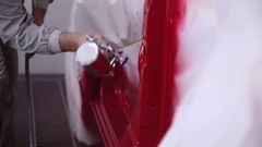Painting parts of the car closeup Stock Footage