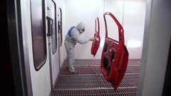 Professional car painting in the garage Stock Footage