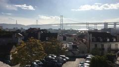 Ponte 25 de Abril Lisbon Suspension Bridge, Portugal Stock Footage