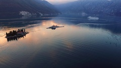 Drone video - Cruise ship in the Bay of Kotor after sunset, Perast Stock Footage