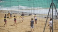 Young people enjoying volleyball game on sandy beach, team sport for friends 4k or 4k+ Resolution