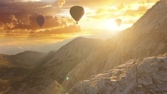 Beautiful Hot Air Balloons at Sunset Freedom to Travel Vacation Exploration Stock Footage