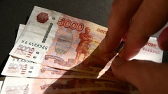 Take Russian Money Banknotes Stock Footage
