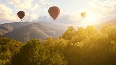 Hot Air Baloons Aerial Drone Flight Over Beautiful Autumn Forrest at Sunet Stock Footage