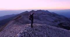Young Man Standing On Top Of Everest Mountain Sunset Adventure Extreme Sport Arkistovideo