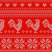 Red Holiday seamless pattern with cross stitch embroidered roosters Stock Illustration