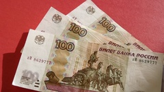 Falling Russian Money Banknotes On Red Table. Sunny Day Stock Footage