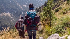 Men Carrying Backpacks While Trekking In Mountain Adventure Healthy Extreme Stock Footage