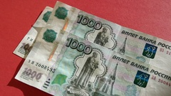 Falling Russian Money Banknotes On Red Table Stock Footage