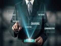 Businessman Social Media Business Sharing Communication Marketing Network Arkistovideo