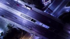 Aerial Footage Of Motor Vehicles On Bridge At Night Drone Freeway Traffic City Stock Footage