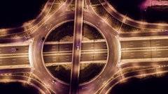Drone Footage Of Interchange  At Night Traffic Freeway Car Bridge Rush Junction Stock Footage