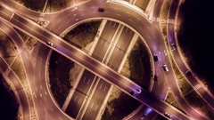 Elevated Road Junction And Interchange Overpass At Night City Transportation Stock Footage