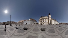 SIBIU-ROMANIA, TRANSYLVANIA: Main town square including former cereal storage Stock Footage