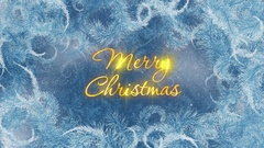 Merry Christmas Ice On Glass Pattern Stock Footage