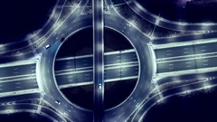 Elevated Road Junction And Interchange Overpass  At Night Traffic Timelapse Stock Footage