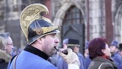 Austrian soldier in vintage helmet 19th century smoke pipe Stock Footage