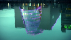 4k Dublin on Dusk, Convention Centre Reflection in River Liffey on Docklands  Stock Footage