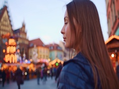 Woman Taking Pictures of European Christmas Market on Smartphone. Slow Motion. Stock Footage
