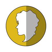 Woman head profile inside circle design Stock Illustration