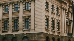 Ultra closeup shot of the Old Bailey Crown Court in London, UK Stock Footage