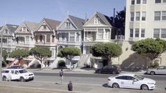 Panning Painted Ladies famous houses from Full House in San Francisco  Stock Footage