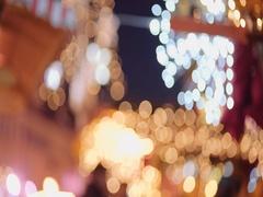 Abstract Christmas City Lights Scene. 4K. European Christmas Market. Stock Footage