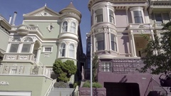Driving past houses in San Francisco California Stock Footage