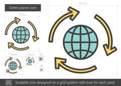 Green planet line icon Stock Illustration