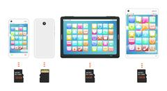 Smartphone and tablet with Micro SD memory card Stock Illustration
