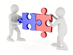Two man with puzzle on white background. Isolated 3D image Piirros