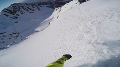 Snowboarder backcountry ride from top of snowy mountain. High speed. Freestyle Stock Footage