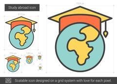 Study abroad line icon Stock Illustration