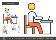 Pupil line icon Stock Illustration