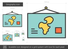 Geography line icon Stock Illustration
