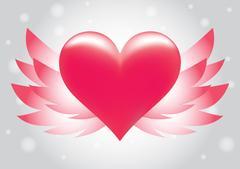 Pink heart wing vector Stock Illustration