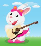 Cute White cartoon bunny playing acoustic guitar Piirros
