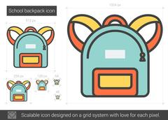 School backpack line icon Piirros