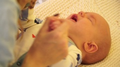 Close-up, small crying child Stock Footage