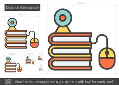 Distance learning line icon Stock Illustration