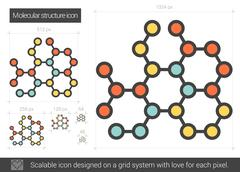 Molecular structure line icon Stock Illustration