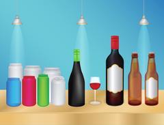 Liquor bottle and can Stock Illustration