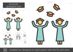 University graduation line icon Piirros