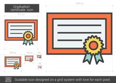 Graduation certificate line icon Piirros
