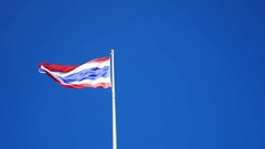 Flag of Thailand waving with blue sky background. Stock Footage