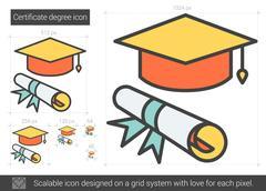 Certificate degree line icon Stock Illustration