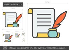 Honor certificate line icon Stock Illustration