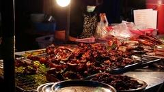 Thai Street Food sellers on night street 24 Stock Footage